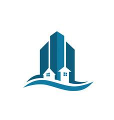 Real estate blue card vector logo