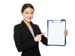 Young businesswoman with a clipboard