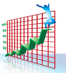 Man Jumping for Joy on Graph