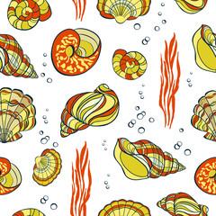 Hand drawn seashells seamless pattern
