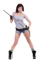 young warrior woman holding sword, isolated on white