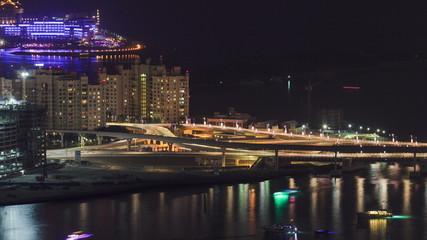 View on bridge of artificial island Palm Jumeirah in Dubai at