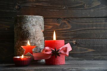 Weihnachtskarte - rote Adventskerze mit Windlicht