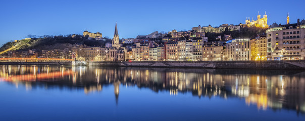 Panoramic view of Lyon with Saone river by night