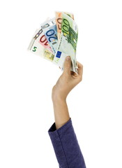 Child hand holding euros