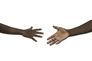 African man and woman hands reaching each other