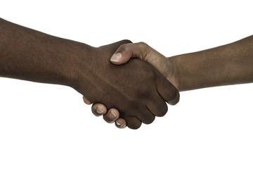 African man and woman handshake