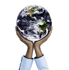 African descent woman holding planet earth