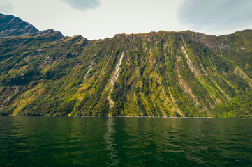 No Waterfalls in Milford Sound New Zealand with boats anchored
