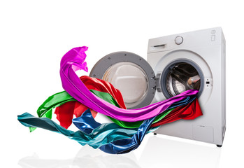 Colored cloth flying from washing machine