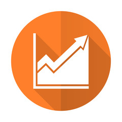 histogram orange flat icon stock sign