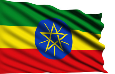 Ethiopia flag with fabric structure