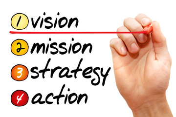 Hand writing vision - mission - strategy - action, concept