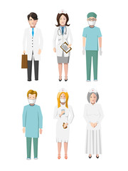 Set of six doctors flat cartoon characters different