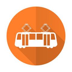 tram orange flat icon public transport sign