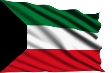 Kuwait flag with fabric structure
