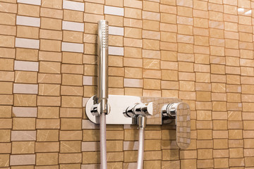 Modern shower head in a bathroom