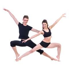 couple man and woman exercising fitness dancing on white