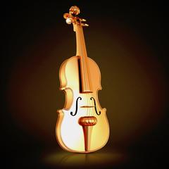 Traditional  golden violin  on black background.