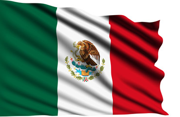 Mexico flag with fabric structure
