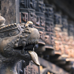 Lions, symbols of power and protection, in Bhaktapur Temple ,the