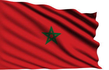 Morocco flag with fabric structure