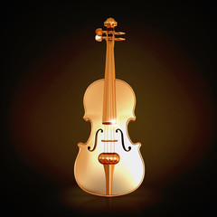 Traditional  golden violin  on black background.