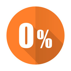 0 percent orange flat icon sale sign