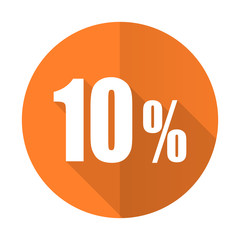 10 percent orange flat icon sale sign