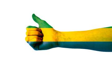 Main avec pouce levé, drapeau Gabon