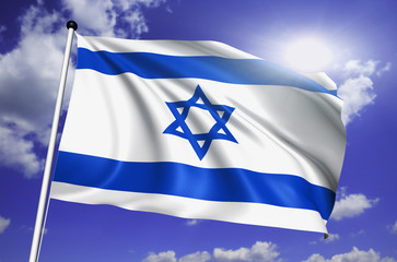 Israel flag with fabric structure against a cloudy sky