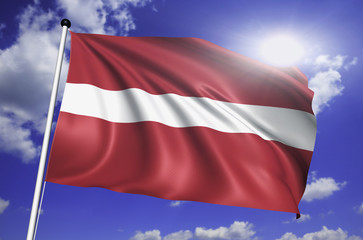 Latvia flag with fabric structure against a cloudy sky