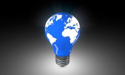 Lighting Bulb with world map.
