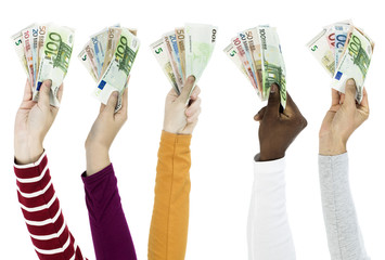 People holding euros