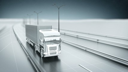 Monochrome cargo truck on a highway front view looping animation
