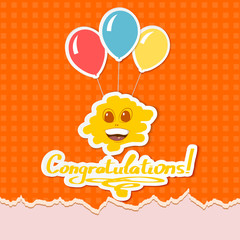 Congratulations on an orange background. vector illustration