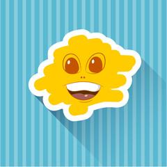 Cartoon face on an orange background. Vector illustration