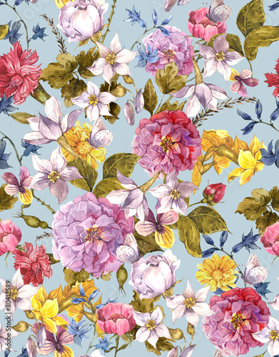 Floral Vintage Seamless Watercolor Background - 80412589