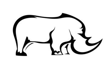 Rhinoceros in profile isolated on white background. Vector illus