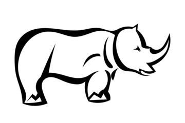 Rhinoceros in profile isolated. Vector illustration.
