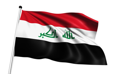 Iraq flag with fabric structure on white background