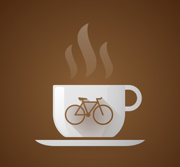 Coffee cup with a bicycle