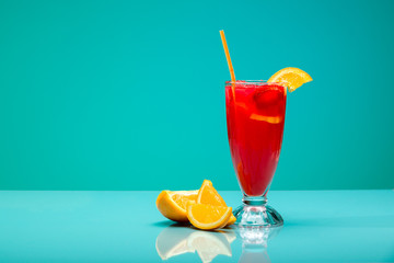 Strawberry cocktail with garnish. Studio shot, copy space