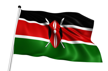 Kenya flag with fabric structure on white background