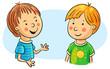 Two Cartoon Boys Talking - 80413740