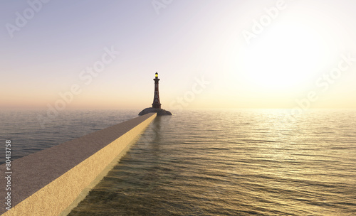 Foto op Aluminium Vuurtoren / Mill lighthouse on the coast