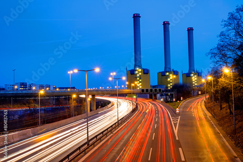 Power station and highway in Berlin - 80413763