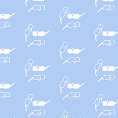 Seamless pattern with silhouettes of white Sunny goggles