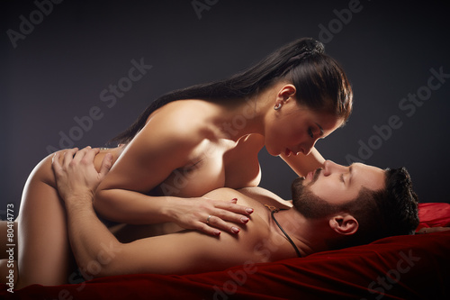 Studio shot of passionate couple having sex - 80414773