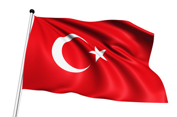 Turkey flag with fabric structure on white background
